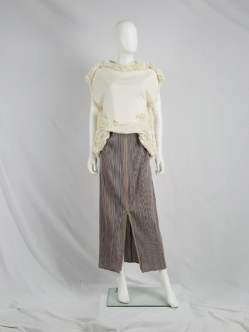 vintage Issey Miyake Pleats Please dark beige pleated maxi skirt with front zipper
