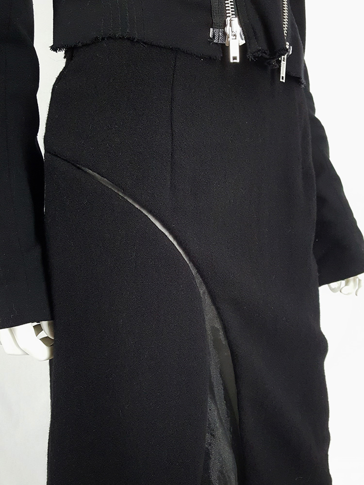 Comme des Garçons black skirt with curved mesh cutout — fall 1997