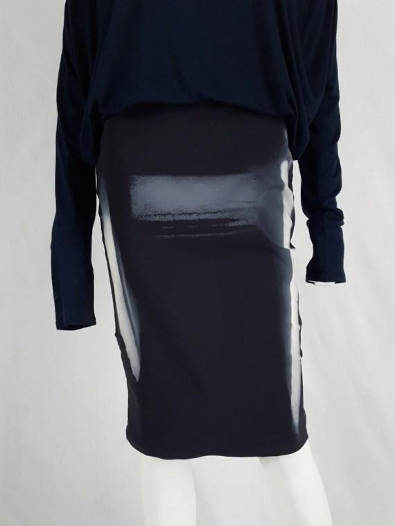 vaniitas vintage Maison Martin Margiela black skirt with painted trompe-l'oeil runway spring 2008 162017
