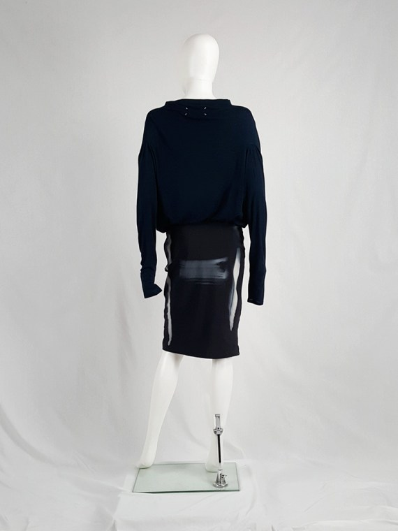 vaniitas vintage Maison Martin Margiela black skirt with painted trompe-l'oeil runway spring 2008 162144