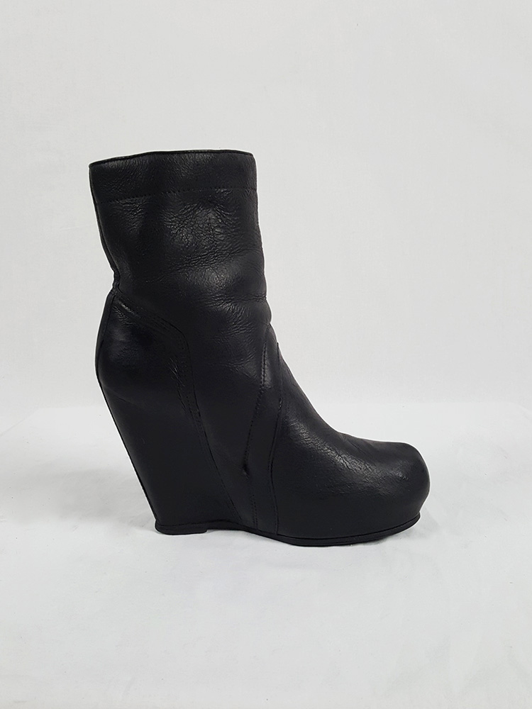 Rick Owens black ankle boots with tall wedge and sheep lining (37)