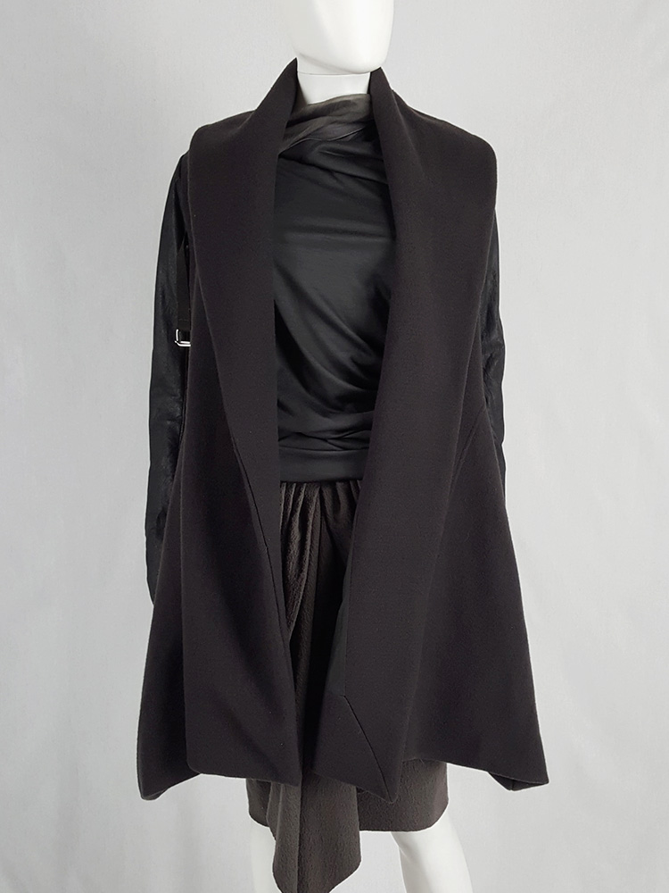 Rick Owens dark green shawl coat with belt strap and leather sleeves