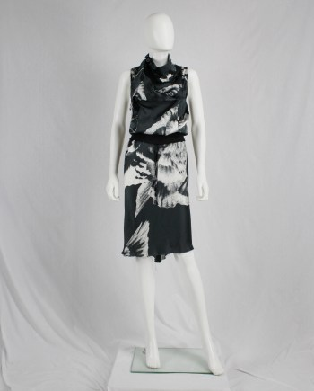Ann Demeulemeester black dress with white bird print — spring 2010