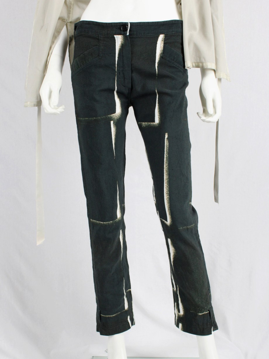 Ann Demeulemeester black trousers with beige stripe print — spring 2011