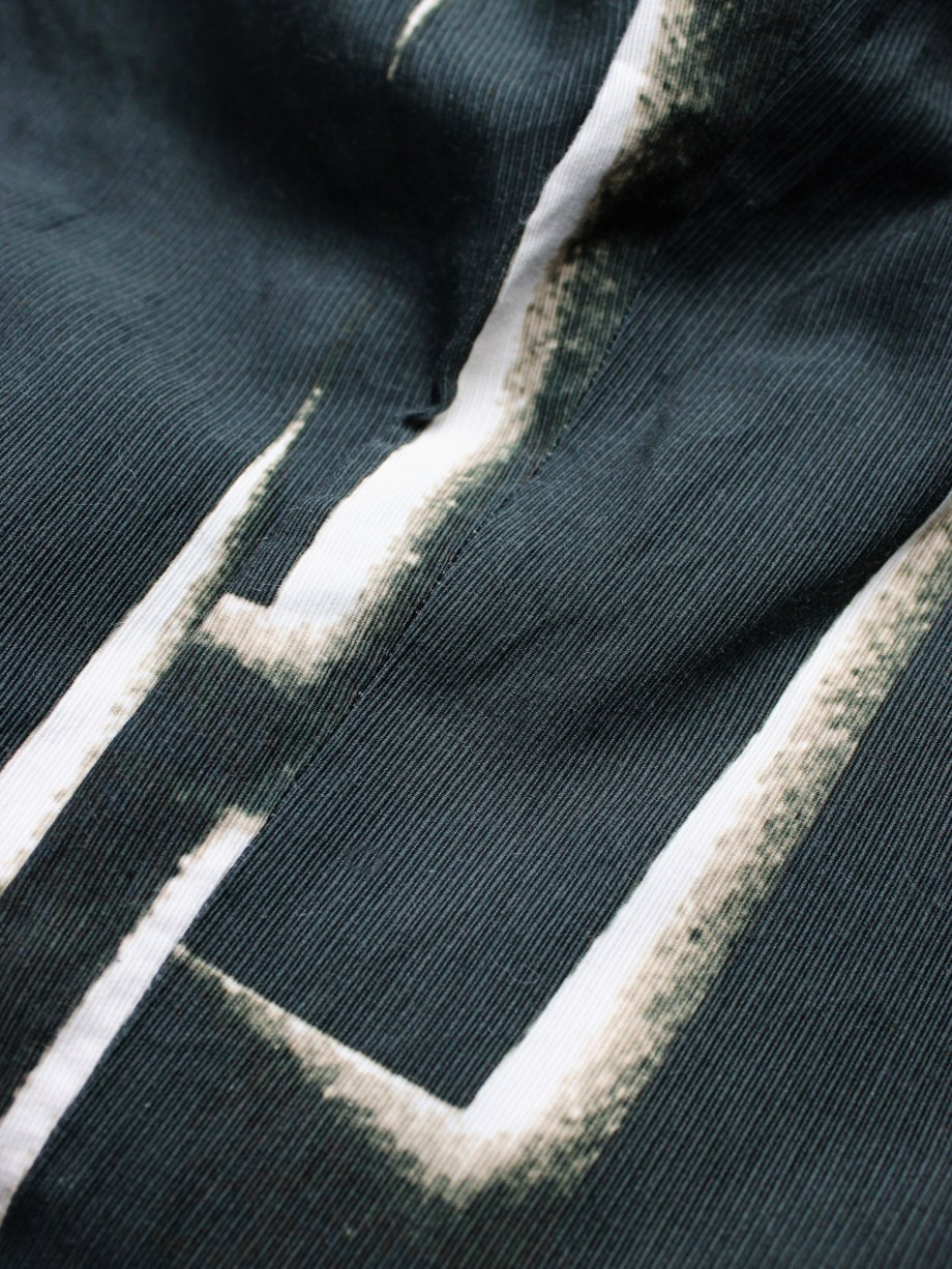 vaniitas vintage Ann Demeulemeester black trousers with beige stripe print spring 2011 4078