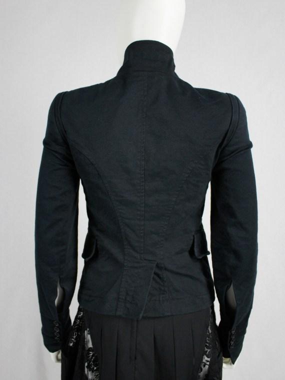 vaniitas vintage Ann Demeulemeester blue asymmetric blazer with cutaway front 1003