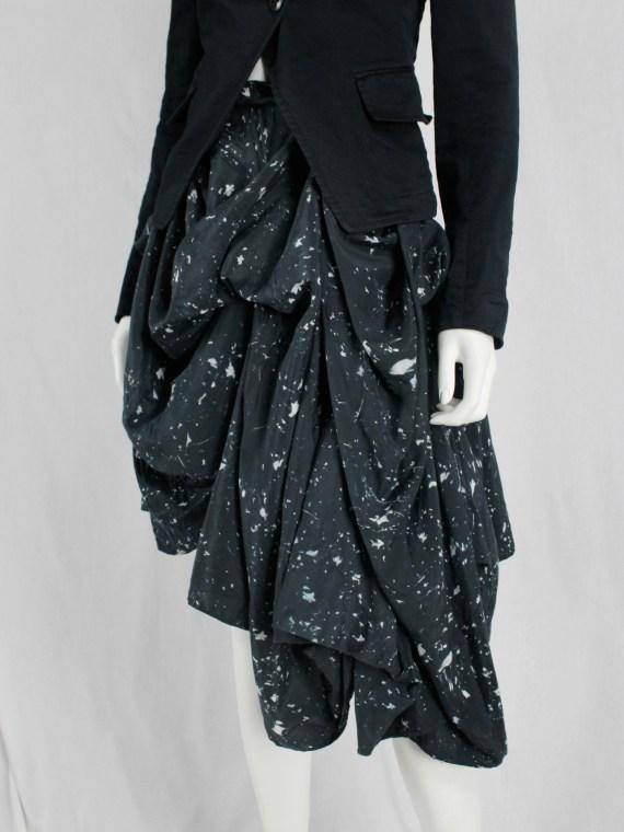 vaniitas vintage Ann Demeulemeester dark blue draped skirt with paint splatters runway fall 2005 54