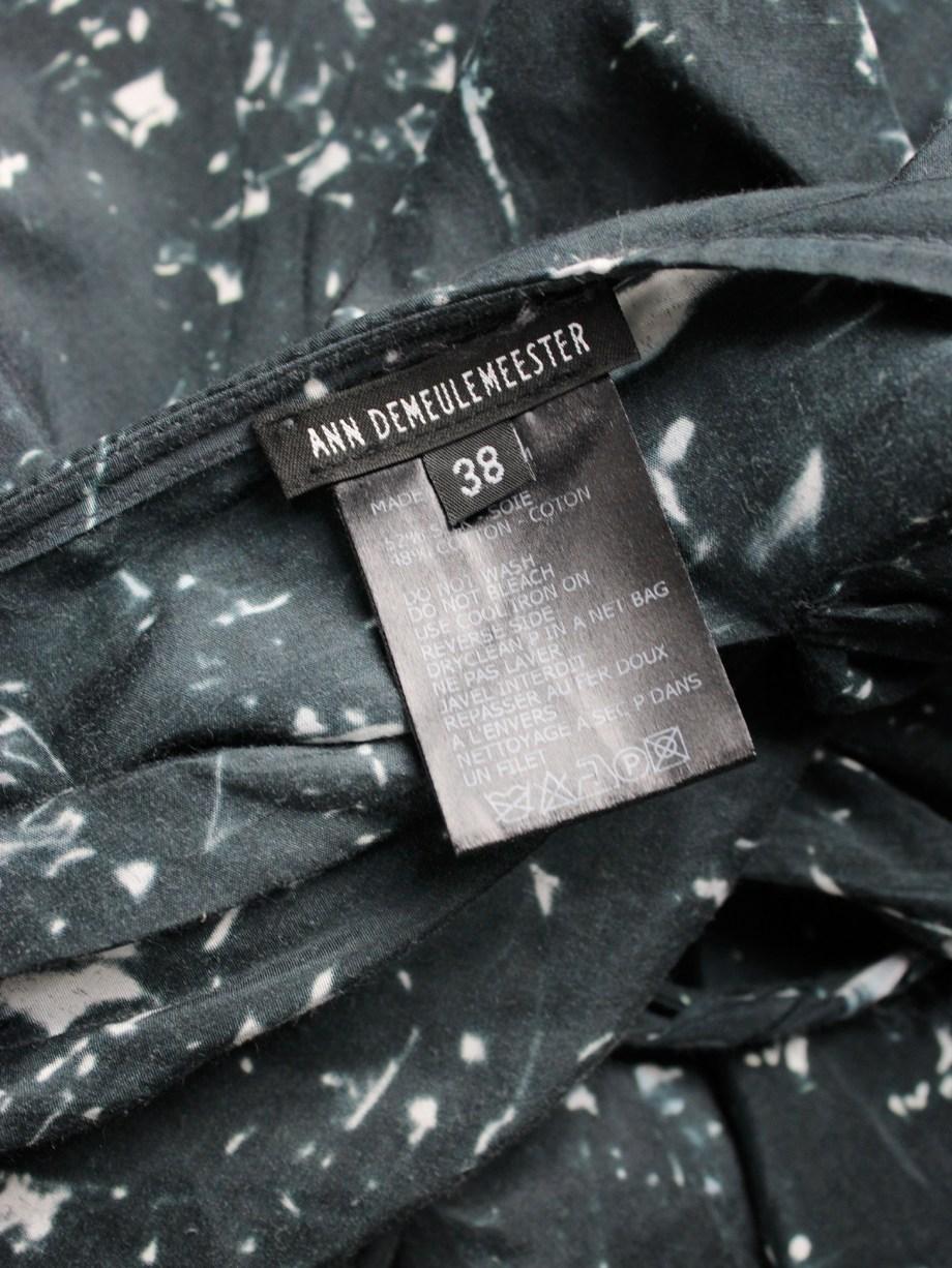 Ann Demeulemeester dark blue draped skirt with paint splatters — fall 2005