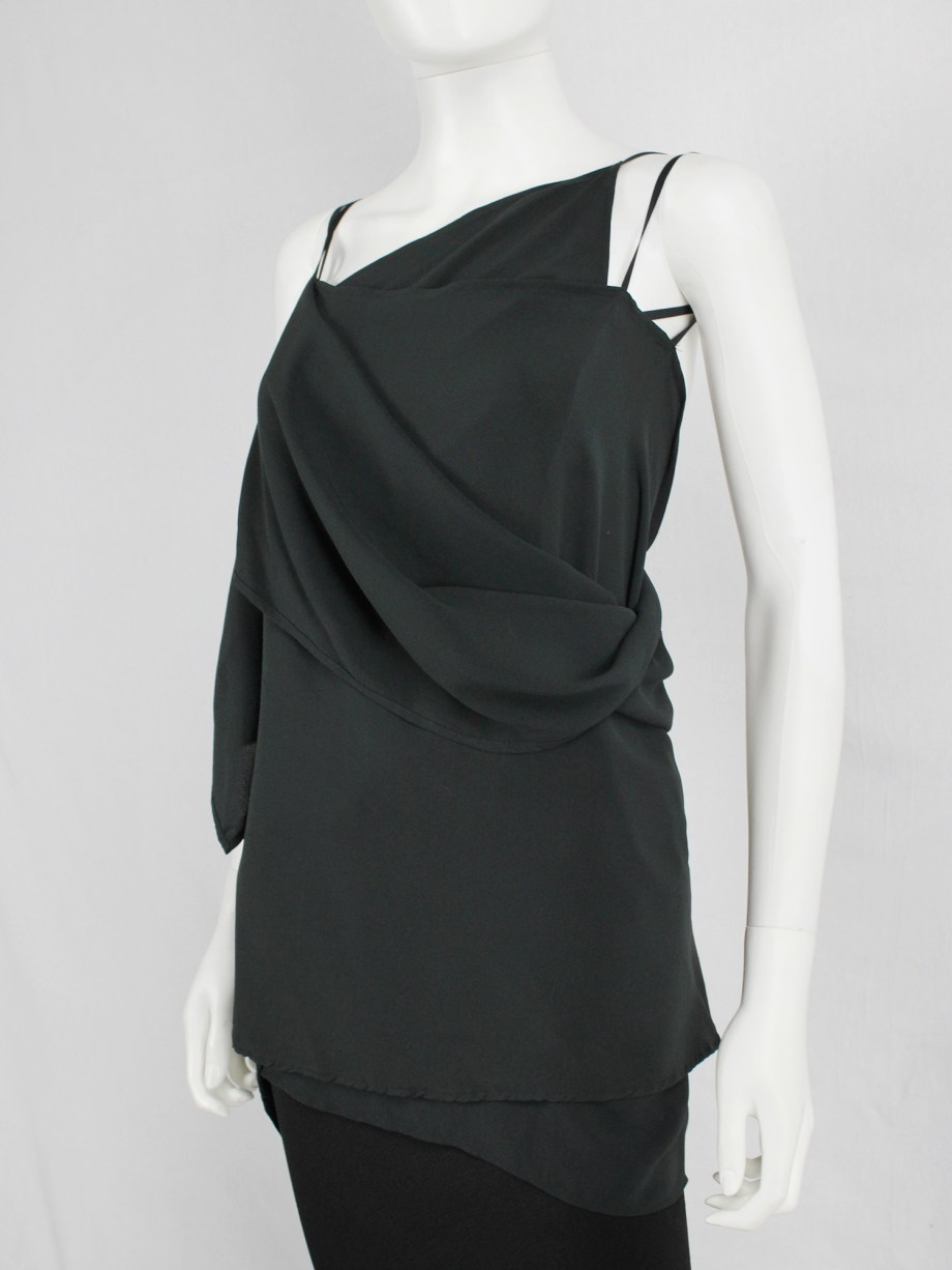 vaniitas vintage Ann Demeulemeester dark green triple wrapped top with open back 4800