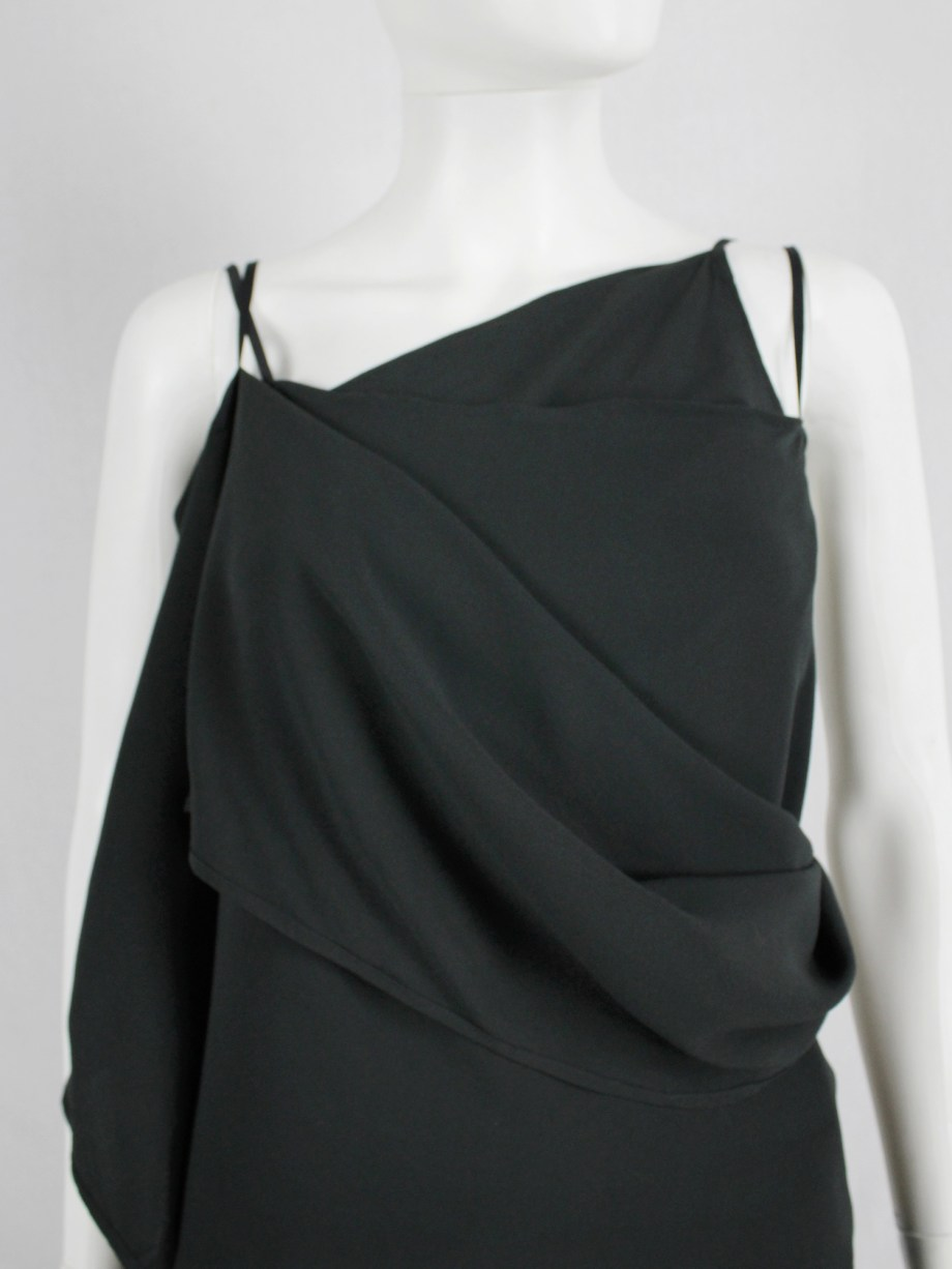 vaniitas vintage Ann Demeulemeester dark green triple wrapped top with open back 4806