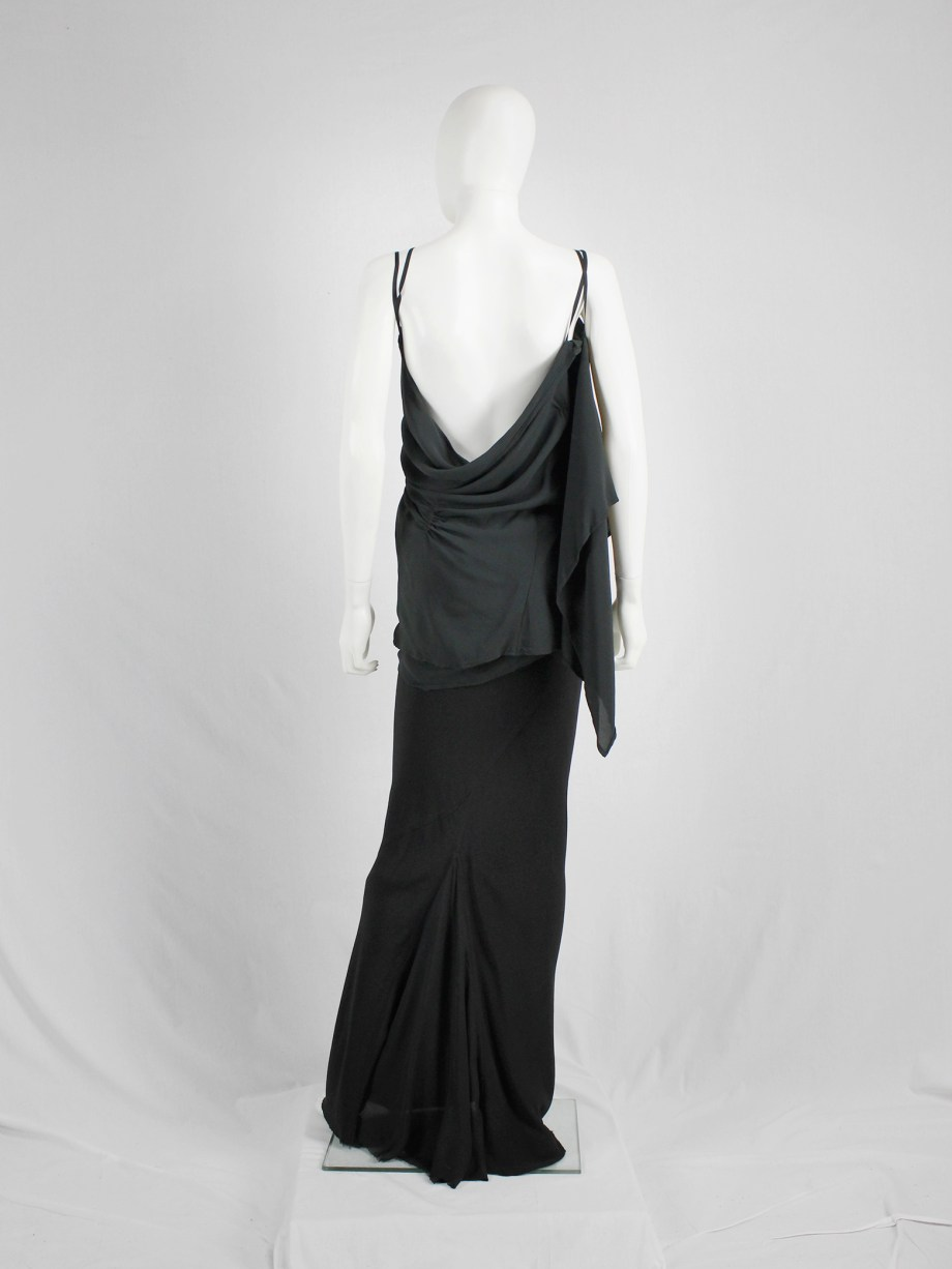 vaniitas vintage Ann Demeulemeester dark green triple wrapped top with open back 482