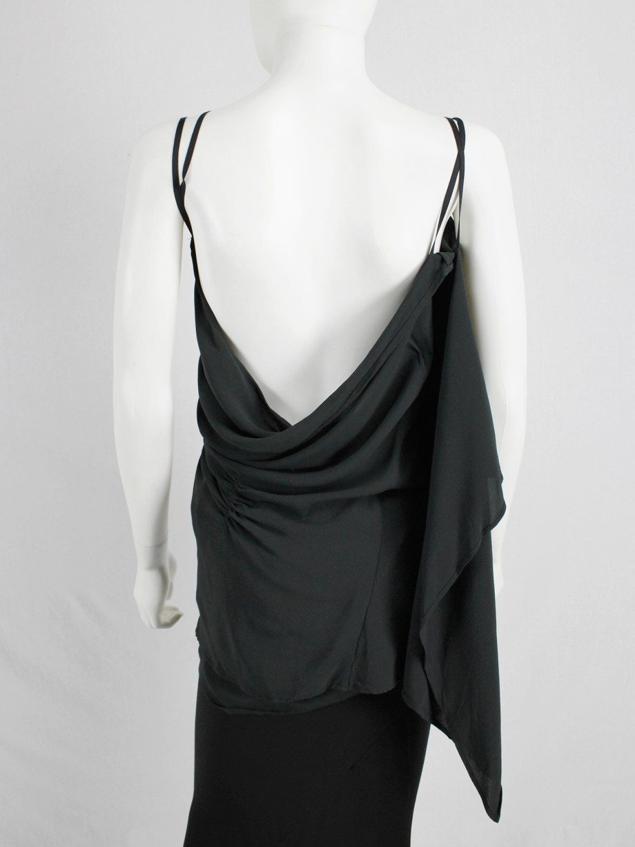 vaniitas vintage Ann Demeulemeester dark green triple wrapped top with open back 4835