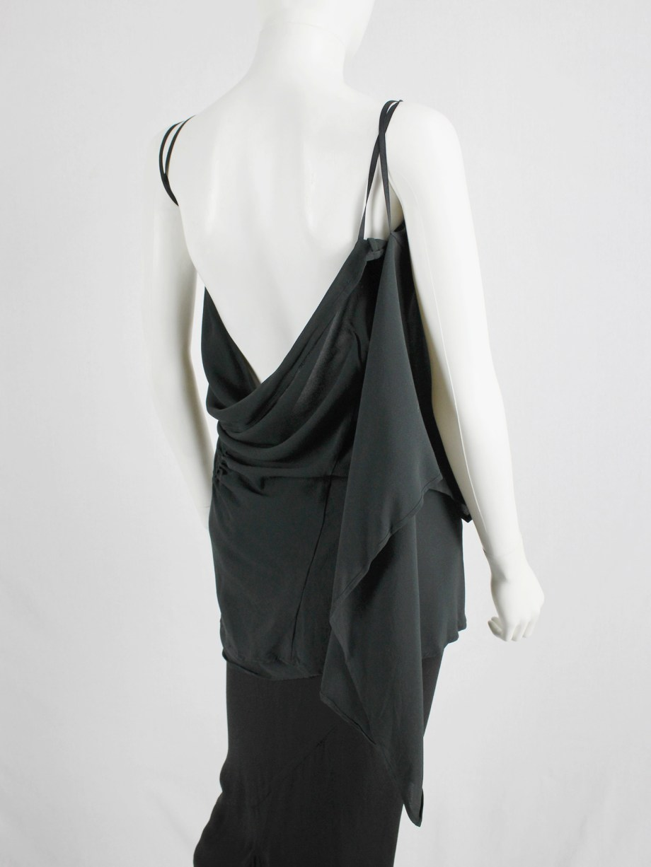 vaniitas vintage Ann Demeulemeester dark green triple wrapped top with open back 4847