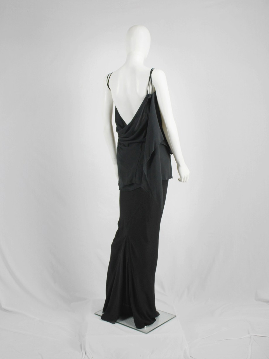 vaniitas vintage Ann Demeulemeester dark green triple wrapped top with open back 4855