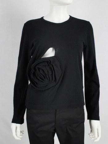 Comme des Garçons black jumper with oversized 3D rose — fall 2013