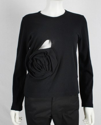 Comme des Garçons black jumper with oversized 3D rose — fall 2013