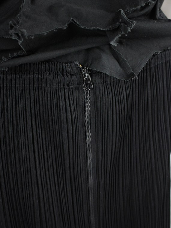 Issey Miyake Pleats Please black pleated maxi skirt with front zipper