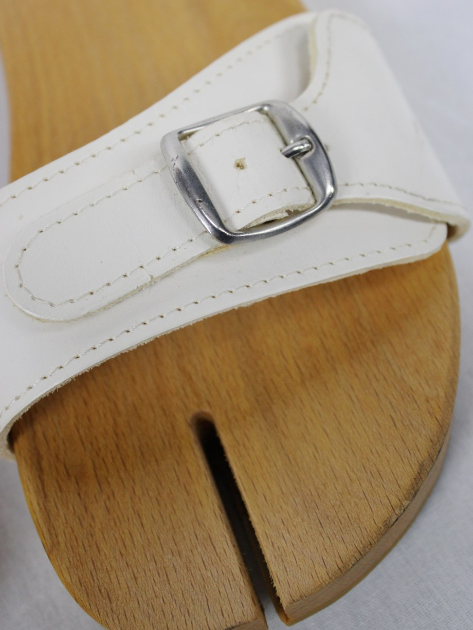 Maison Martin Margiela 6 wooden tabi clogs with white leather straps (38.5) — spring 2005