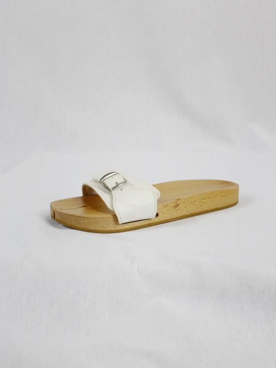 Maison Martin Margiela 6 wooden tabi clogs with white leather straps (38.5) — spring 2005