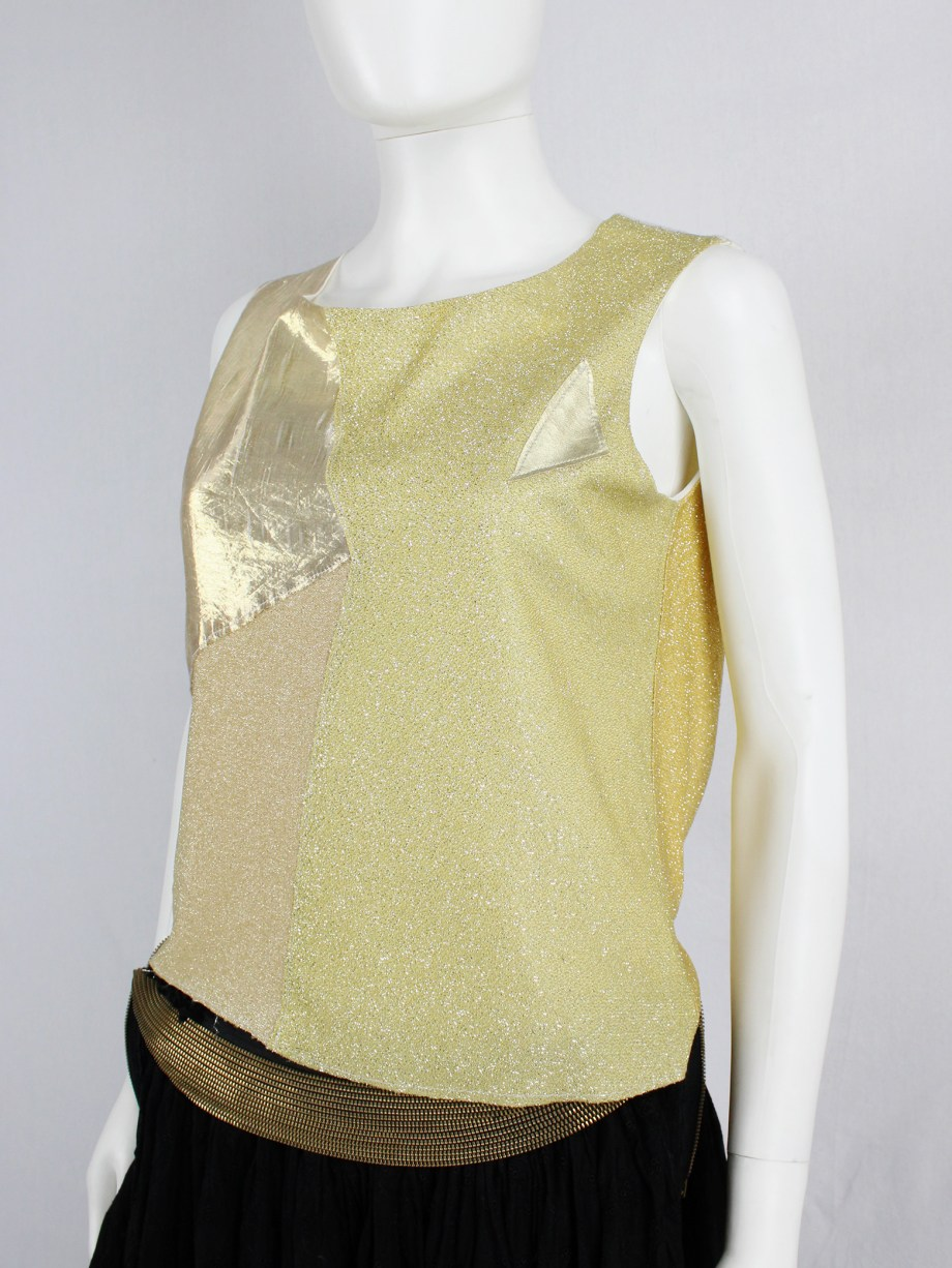 Maison Martin Margiela artisanal gold top made of multiple fabric patches — fall 2004
