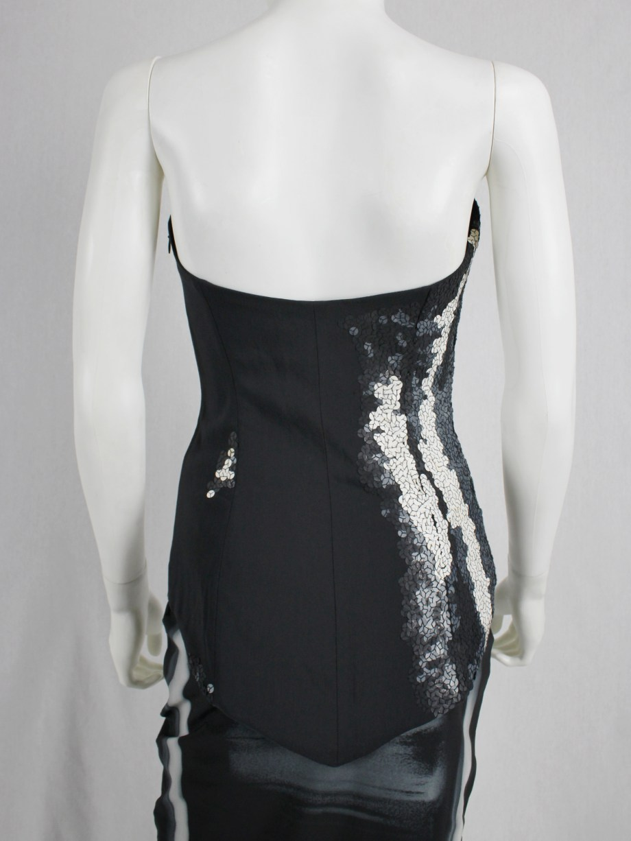 Maison Martin Margiela dark blue top with sequin trompe-l'oeil — spring 2008
