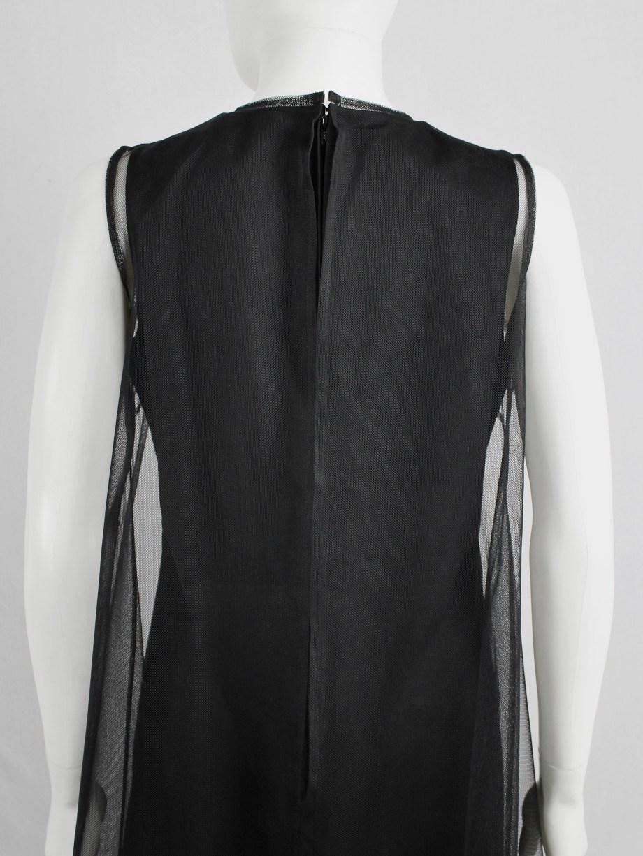 Noir Kei Ninomiya black minimalist dress with sheer overlayer — fall 2015