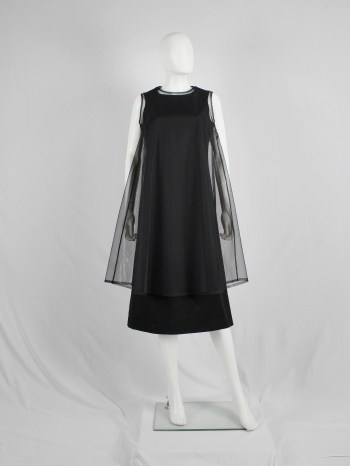 Noir Kei Ninomiya black minimalist dress with sheer overlayer — fall 2015