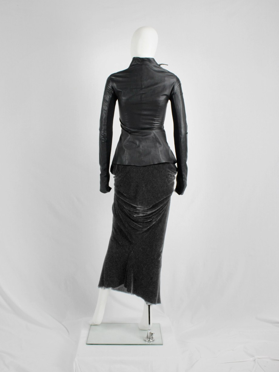 vaniitas vintage Rick Owens MOOG black draped velvet skirt with front tie fall 2005 3880