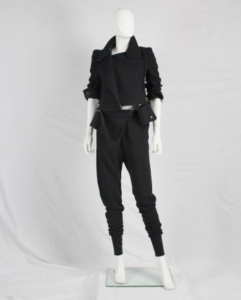 Ann Demeulemeester black harem sweatpants with pleated front