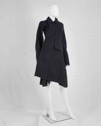 Comme des Garçons Comme blue coat twisting around the body — AD 2008