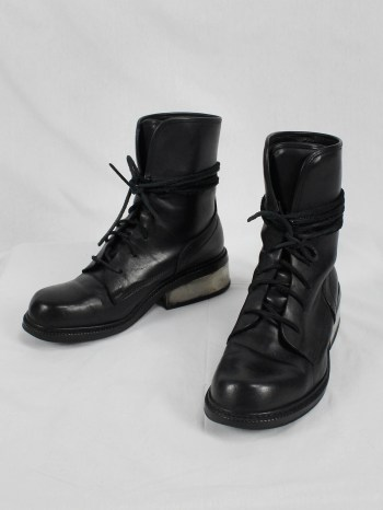 Dirk Bikkembergs black tall lace-up boots with metal heel (41) — early 2000's