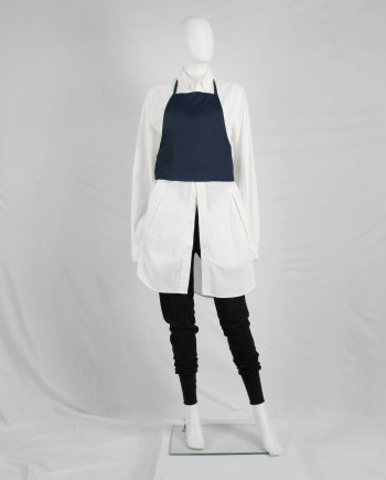 Lieve van gorp dark blue cropped apron with bowtie back — 1990's