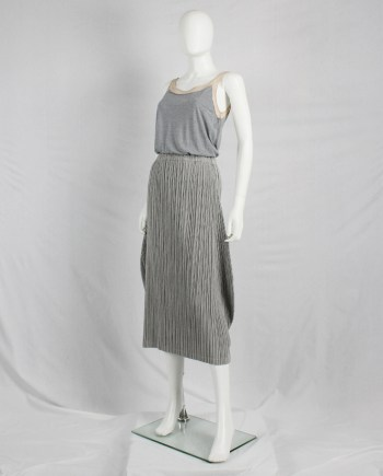 Maison Martin Margiela grey floating top with nude mesh underlayer — spring 2005