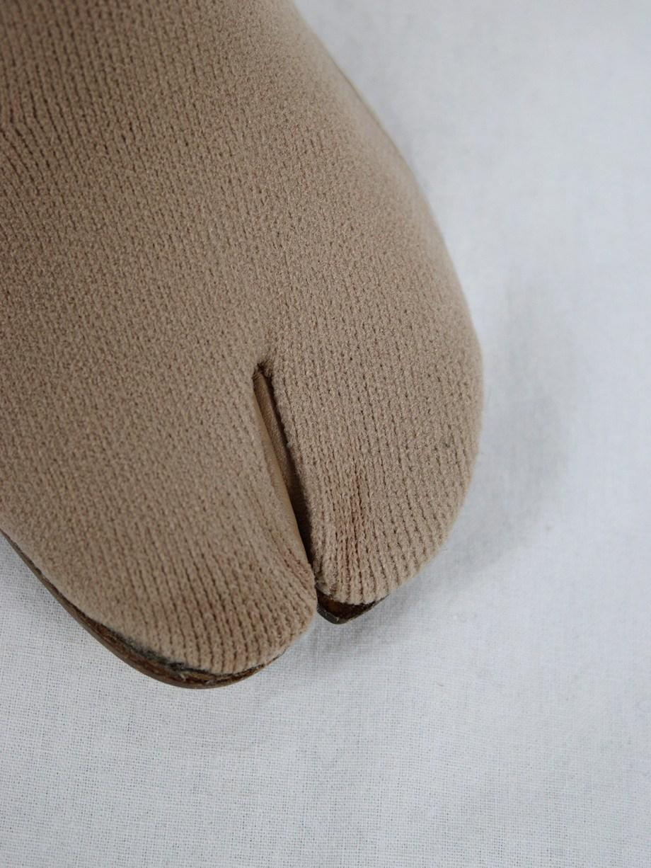 Maison Martin Margiela nude sock tabi boots with glitter heel (38.5) — spring 2019