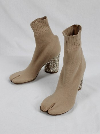 Maison Martin Margiela nude sock tabi boots with glitter heel (38.5) — spring 2019