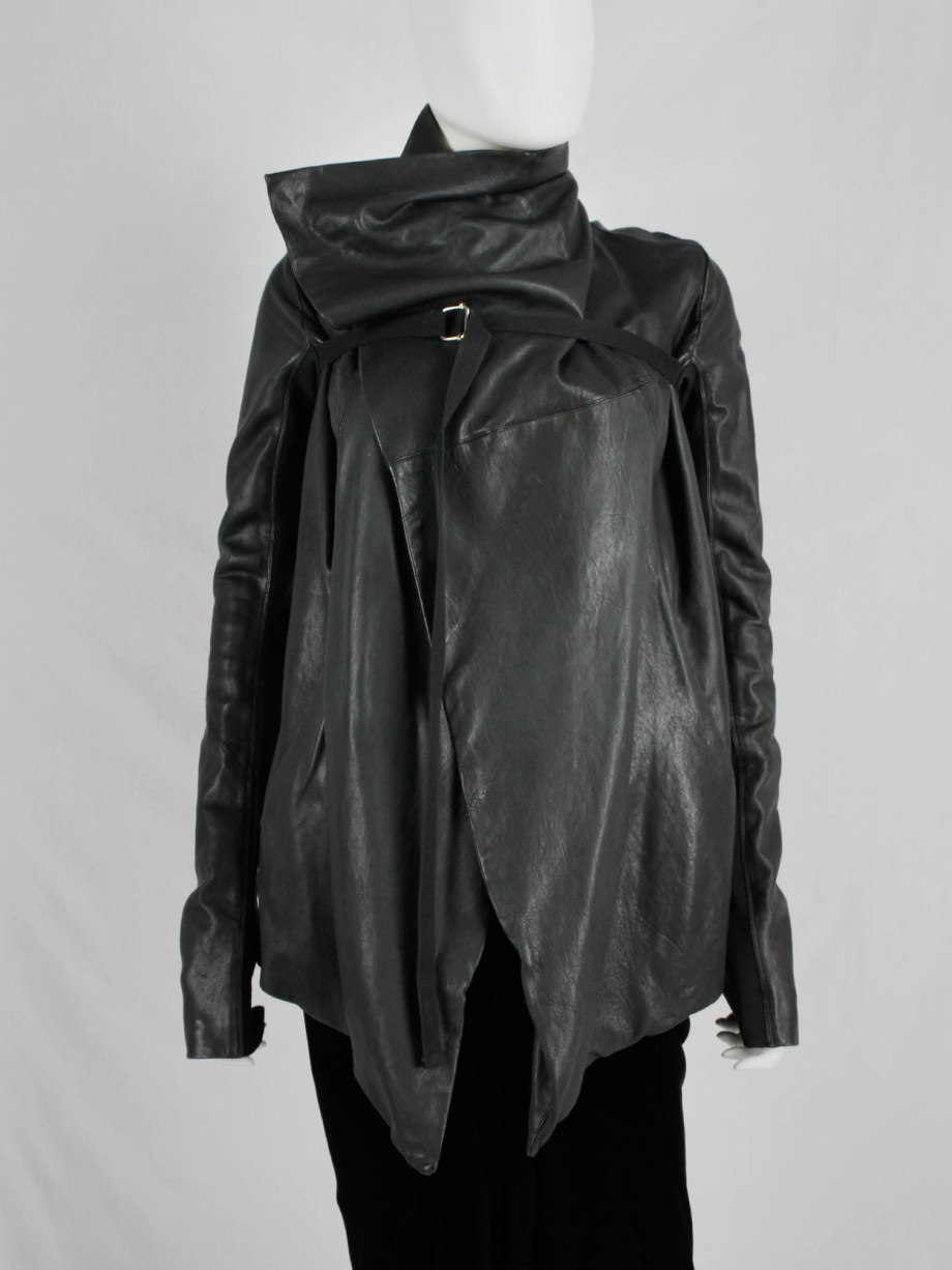 Rick Owens black leather jacket with overlap front and cross-body strap
