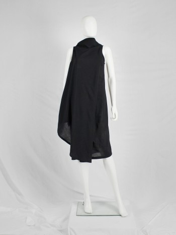 Ann Demeulemeester black asymmetric wrap dress