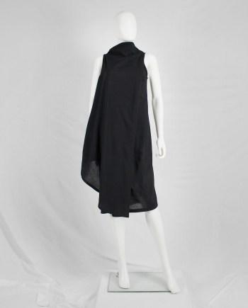 Ann Demeulemeester black asymmetric wrap dress