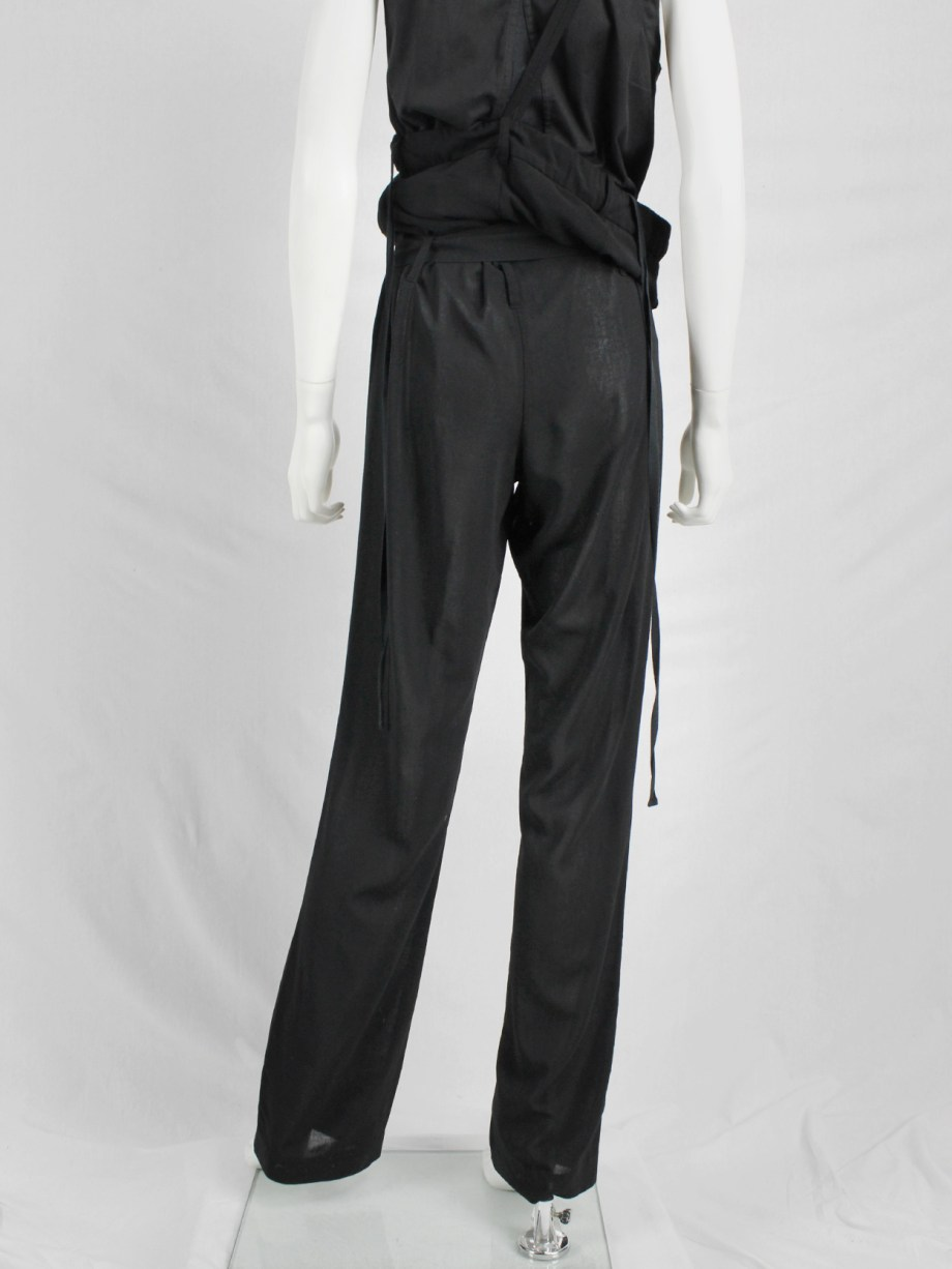Ann Demeulemeester black draped trousers with strap or jumpsuit — spring 2003