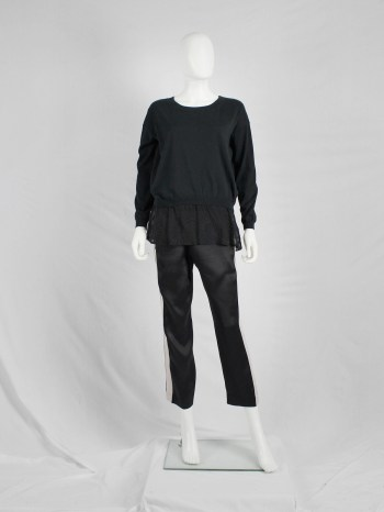 Ann Demeulemeester black jumper with sheer embroidered hem