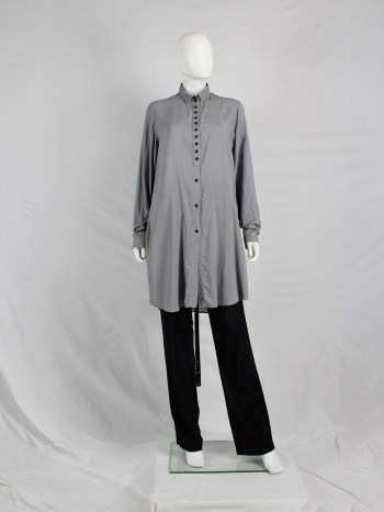 Ann Demeulemeester grey long shirt with many black buttons