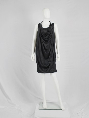 Issey Miyake Fête black double layered dress with fine pleats