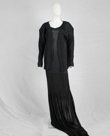 Issey Miyake Pleats Please black cardigan with squared shoulders