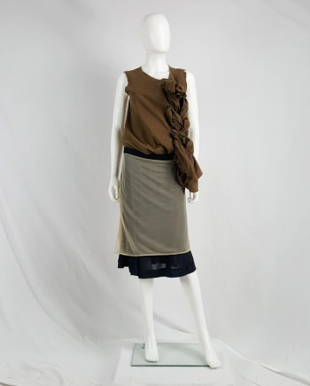 Maison Martin Margiela black inside out skirt with beige lining — fall 2006