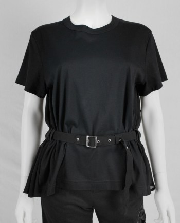 Noir Kei Ninomiya black gathered t-shirt with belt and sheer back