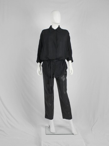Ann Demeulemeester black batwing shirt with tassel belt — fall 2013