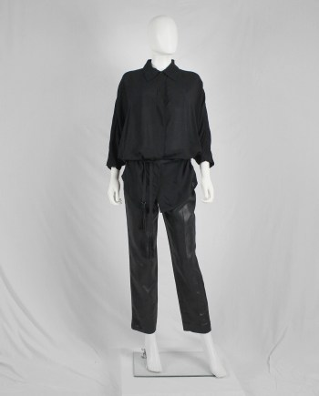 Ann Demeulemeester black batwing shirt with tassel belt — fall 2013