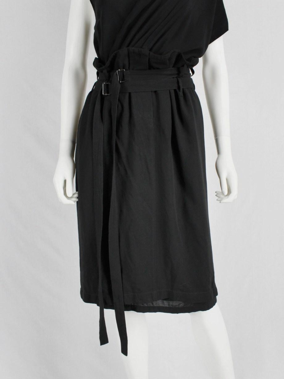 Ann Demeulemeester black skirt with two belt straps — spring 2003
