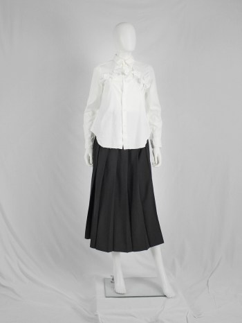 Comme des Garçons black trousers with pleated maxi skirt front — fall 1996