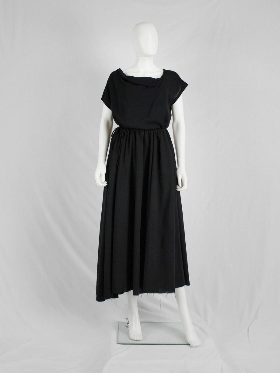 vaniitas Dries Van Noten black gathered maxi skirt with frayed trim 3511